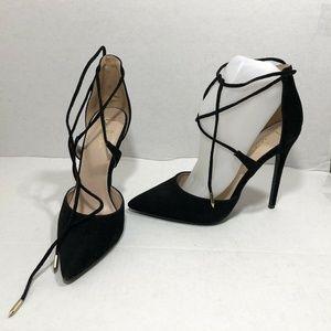 Lulu's Heels Black Suede Lace Up Point Toe 8.5